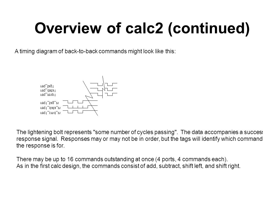 Overview of calc2 (continued) A timing diagram of back-to-back commands might look like this: The lightening bolt represents some number of cycles passing .