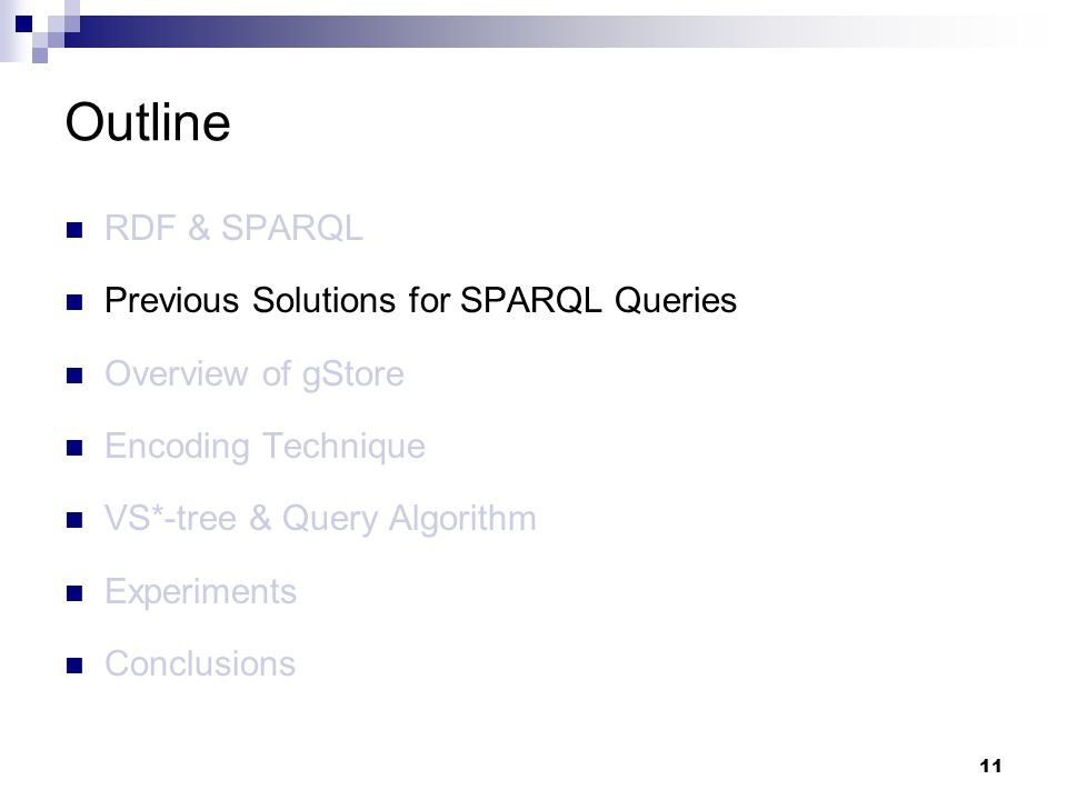 11 RDF & SPARQL Previous Solutions for SPARQL Queries Overview of gStore Encoding Technique VS*-tree & Query Algorithm Experiments Conclusions Outline