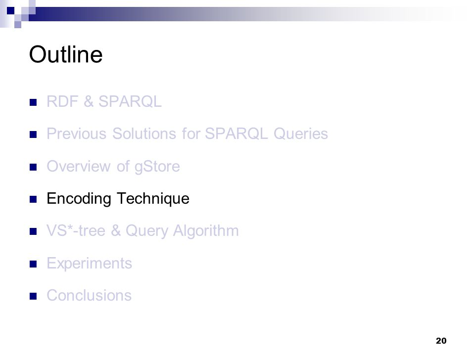 20 RDF & SPARQL Previous Solutions for SPARQL Queries Overview of gStore Encoding Technique VS*-tree & Query Algorithm Experiments Conclusions Outline