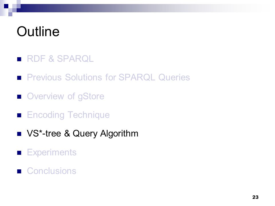 23 RDF & SPARQL Previous Solutions for SPARQL Queries Overview of gStore Encoding Technique VS*-tree & Query Algorithm Experiments Conclusions Outline
