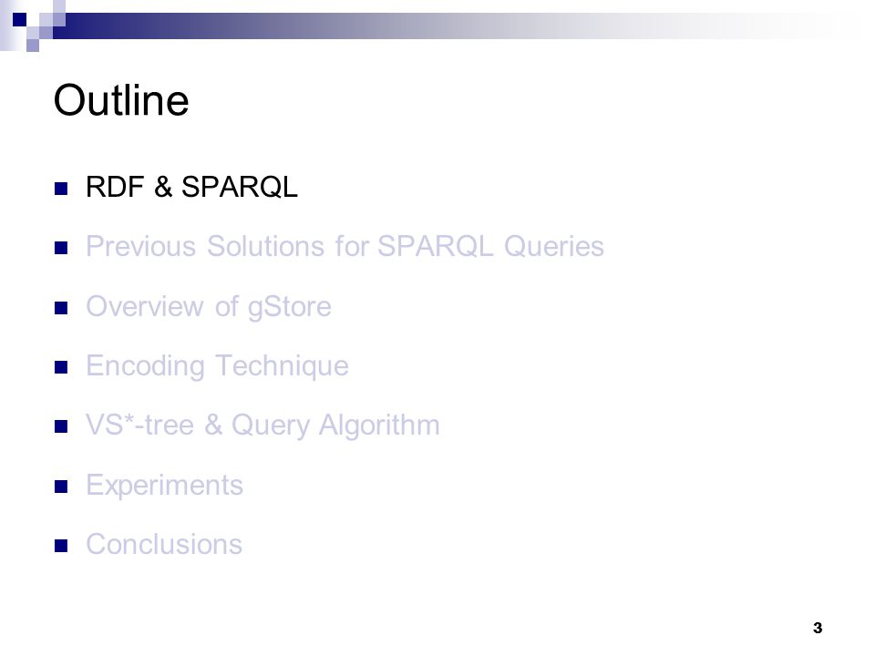 3 RDF & SPARQL Previous Solutions for SPARQL Queries Overview of gStore Encoding Technique VS*-tree & Query Algorithm Experiments Conclusions Outline