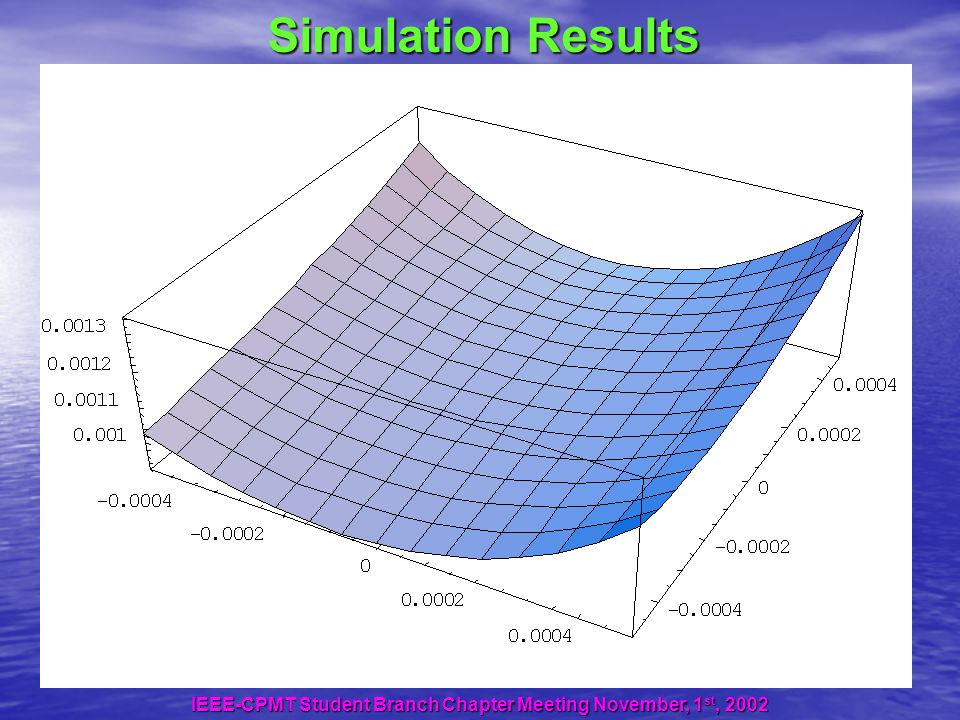 Simulation Results IEEE-CPMT Student Branch Chapter Meeting November, 1 st, 2002