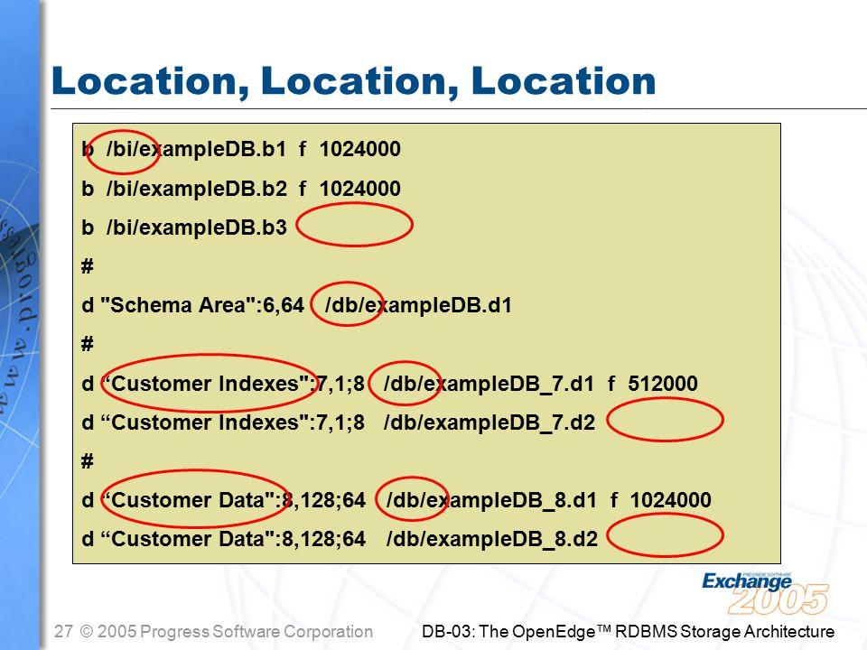 27© 2005 Progress Software Corporation DB-03: The OpenEdge™ RDBMS Storage Architecture Location, Location, Location b /bi/exampleDB.b1 f 1024000 b /bi/exampleDB.b2 f 1024000 b /bi/exampleDB.b3 # d Schema Area :6,64 /db/exampleDB.d1 # d Customer Indexes :7,1;8 /db/exampleDB_7.d1 f 512000 d Customer Indexes :7,1;8 /db/exampleDB_7.d2 # d Customer Data :8,128;64 /db/exampleDB_8.d1 f 1024000 d Customer Data :8,128;64 /db/exampleDB_8.d2