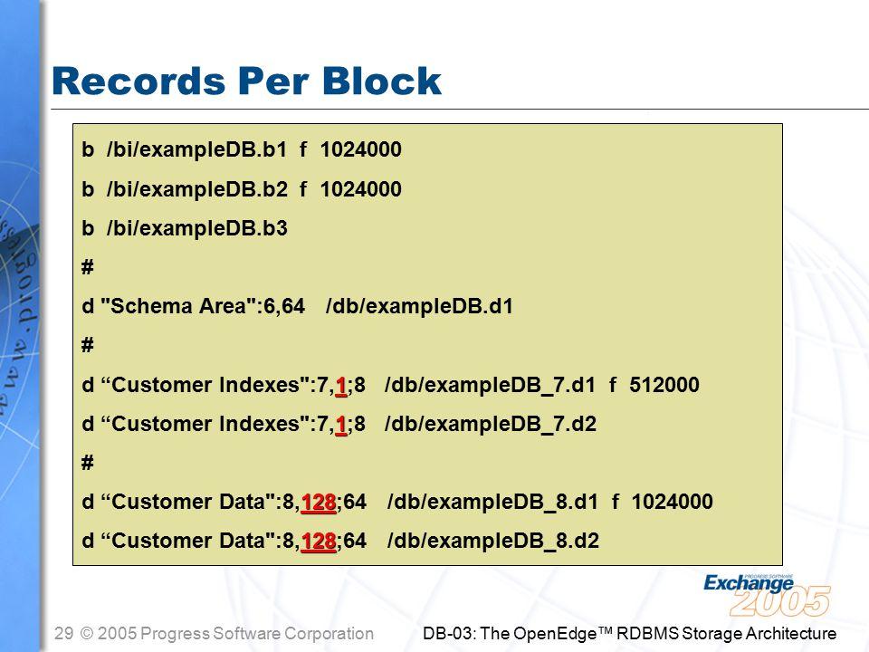 29© 2005 Progress Software Corporation DB-03: The OpenEdge™ RDBMS Storage Architecture Records Per Block b /bi/exampleDB.b1 f 1024000 b /bi/exampleDB.b2 f 1024000 b /bi/exampleDB.b3 # d Schema Area :6,64 /db/exampleDB.d1 # 1 d Customer Indexes :7,1;8 /db/exampleDB_7.d1 f 512000 1 d Customer Indexes :7,1;8 /db/exampleDB_7.d2 # 128 d Customer Data :8,128;64 /db/exampleDB_8.d1 f 1024000 128 d Customer Data :8,128;64 /db/exampleDB_8.d2