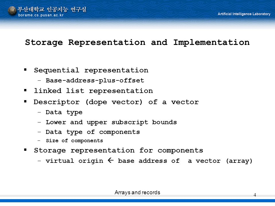 Arrays and records 4 Storage Representation and Implementation  Sequential representation –Base-address-plus-offset  linked list representation  De