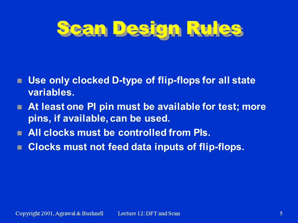 Copyright 2001, Agrawal & BushnellLecture 12: DFT and Scan5 Scan Design Rules n Use only clocked D-type of flip-flops for all state variables.