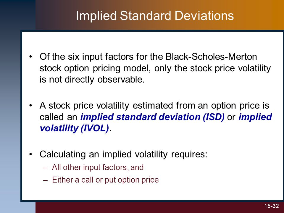 15-32 Implied Standard Deviations Of the six input factors for the Black-Scholes-Merton stock option pricing model, only the stock price volatility is not directly observable.