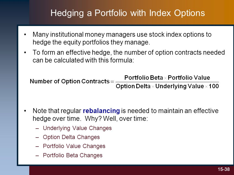 15-38 Hedging a Portfolio with Index Options Many institutional money managers use stock index options to hedge the equity portfolios they manage.