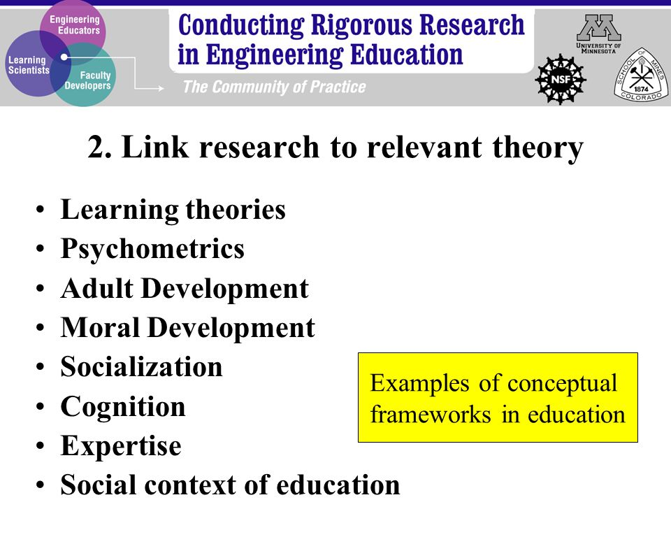 Learning theories Psychometrics Adult Development Moral Development Socialization Cognition Expertise Social context of education Examples of conceptual frameworks in education 2.