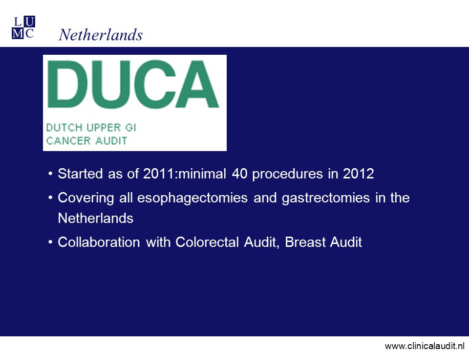Netherlands Started as of 2011:minimal 40 procedures in 2012 Covering all esophagectomies and gastrectomies in the Netherlands Collaboration with Colorectal Audit, Breast Audit