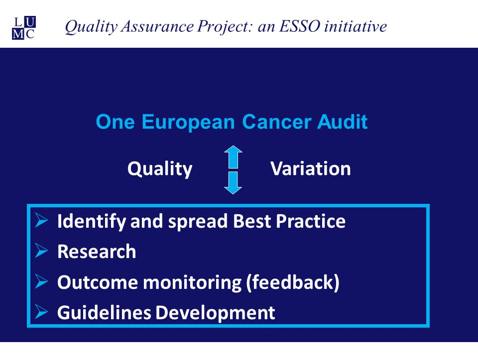 Quality Assurance Project: an ESSO initiative One European Cancer Audit QualityVariation  Identify and spread Best Practice  Research  Outcome moni