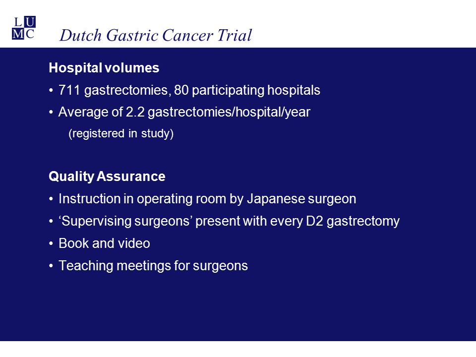 Dutch Gastric Cancer Trial Hospital volumes 711 gastrectomies, 80 participating hospitals Average of 2.2 gastrectomies/hospital/year (registered in st