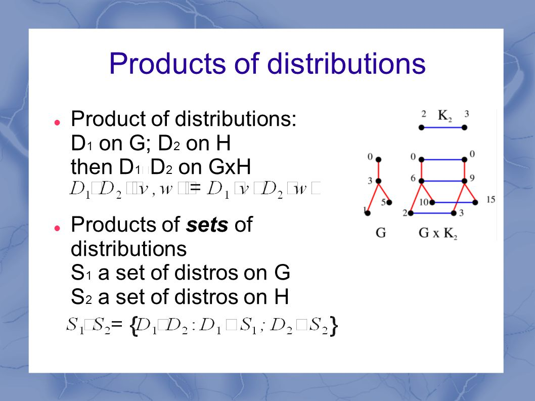 Products of distributions Product of distributions: D 1 on G; D 2 on H then D 1 ‧ D 2 on GxH Products of sets of distributions S 1 a set of distros on G S 2 a set of distros on H