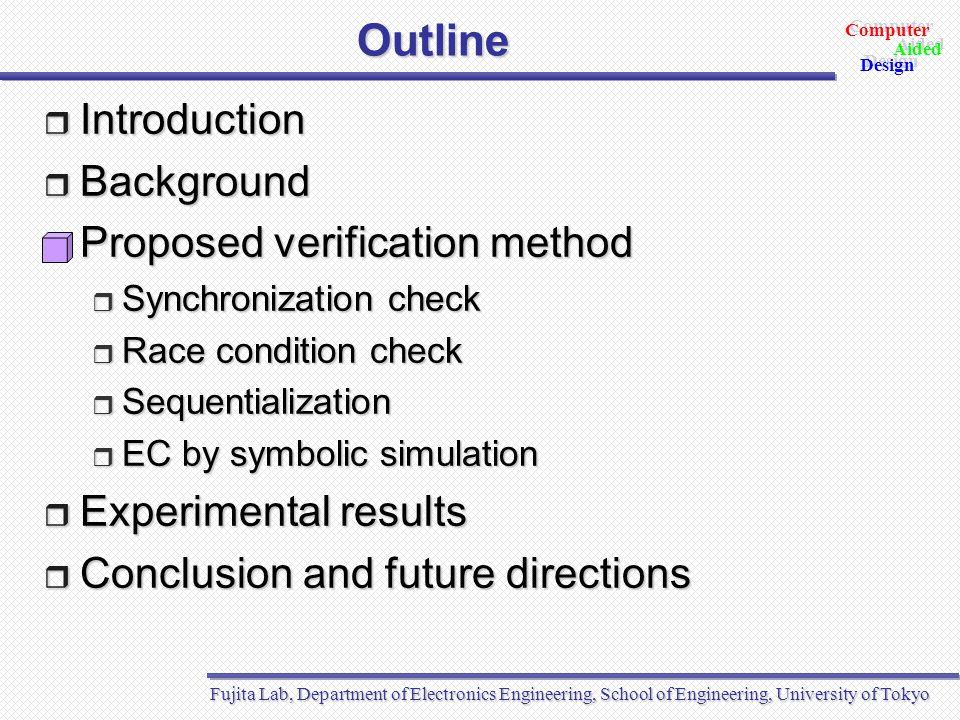 Fujita Lab, Department of Electronics Engineering, School of Engineering, University of Tokyo Aided Design Aided Computer Design Proposed verification method (1) SpecC Design 1 SpecC Design 2 Sequential Design 1 Sequential Design 2 Sync.