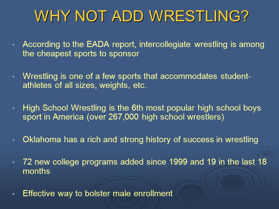 Cost Effective Sport One time Start Up Costs: Wrestling Mat: $9,000 Wrestling Room: 50 ft x 80 ft Ongoing Costs: Coaches Salary - $30,000 to $35,000 (can be combined with other administrative duties such as admissions, etc.