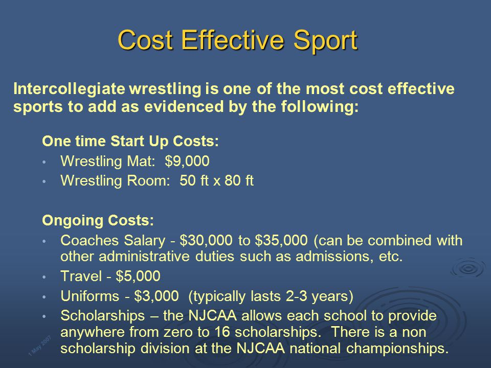 WHY WRESTLING Tradition: World's Oldest Sport (with track & field) Intercollegiate wrestling in existence for over 100 years Included in ancient and modern Olympic Games Amateur wrestling fully embraces diversity Minimal costs for facilities and equipment enables nearly every country to compete Wrestling is typically one of the United States' three top medal winning sports in the last several Olympic Games Military Services have competitive international teams.