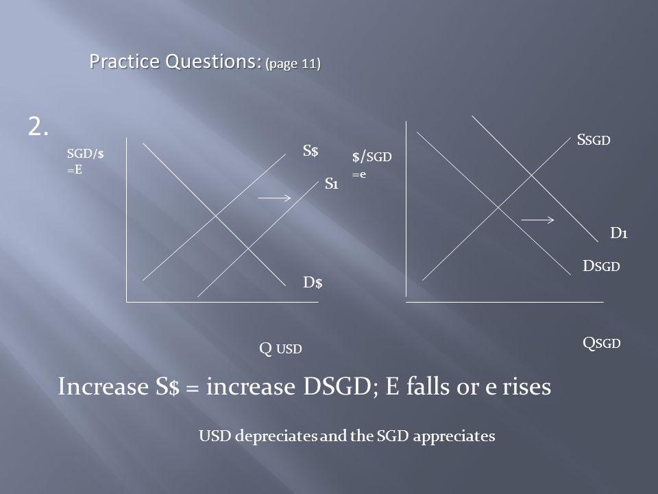 2. Increase S$ = increase DSGD; E falls or e rises Practice Questions: (page 11) SGD/$ =E Q USD S$ D$ S SGD D SGD $/ SGD =e Q SGD D1 S1 USD depreciate