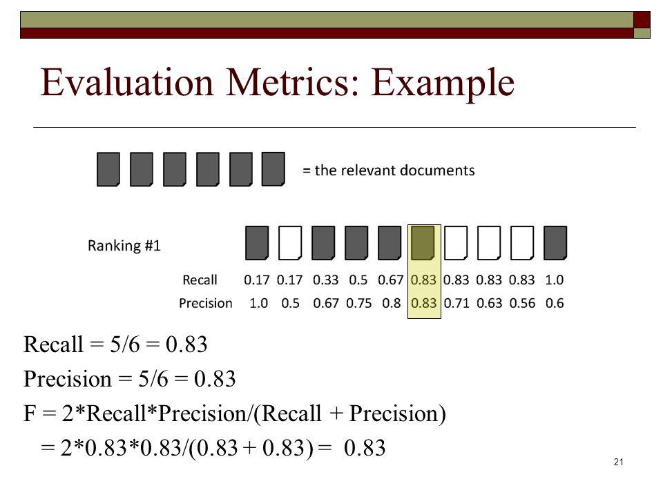 21 Evaluation Metrics: Example Recall = 5/6 = 0.83 Precision = 5/6 = 0.83 F = 2*Recall*Precision/(Recall + Precision) = 2*0.83*0.83/(0.83 + 0.83) = 0.83