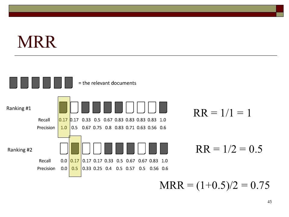 45 MRR RR = 1/1 = 1 RR = 1/2 = 0.5 MRR = (1+0.5)/2 = 0.75