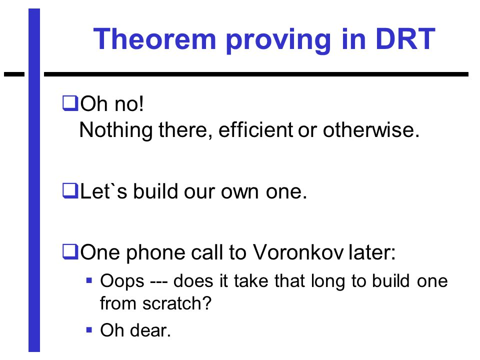 Theorem proving in DRT  Oh no. Nothing there, efficient or otherwise.