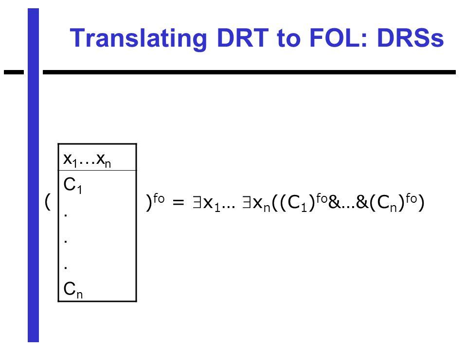 Translating DRT to FOL: DRSs x 1 …x n C1...CnC1...Cn ( ) fo = x 1 … x n ((C 1 ) fo &…&(C n ) fo )