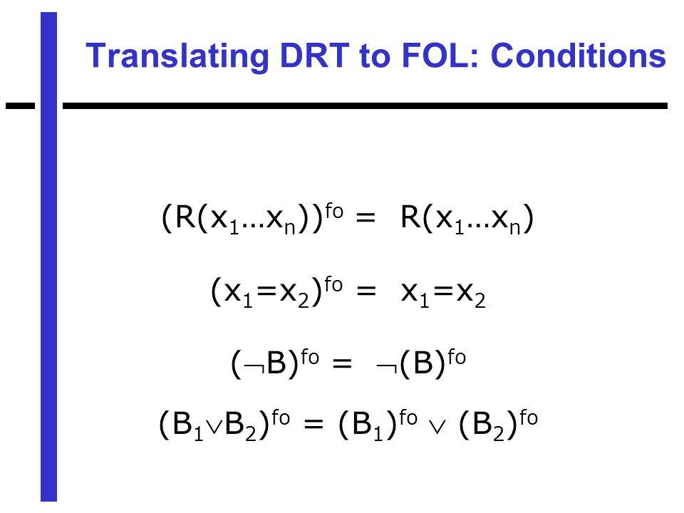 Translating DRT to FOL: Conditions (R(x 1 …x n )) fo = R(x 1 …x n ) (x 1 =x 2 ) fo = x 1 =x 2 (B) fo = (B) fo (B 1 B 2 ) fo = (B 1 ) fo  (B 2 ) fo