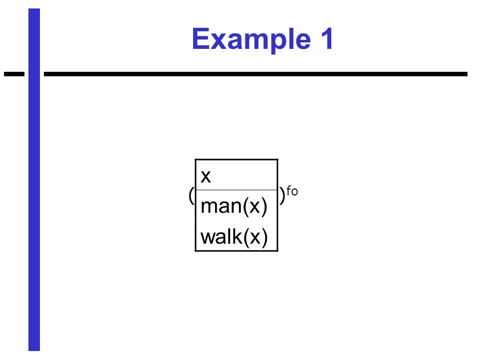 Example 1 x man(x) walk(x) ) fo (