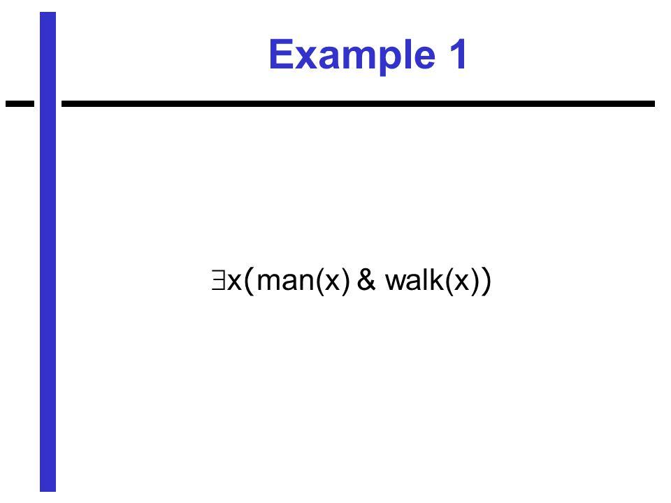 Example 1  x ( man(x) & walk(x) )