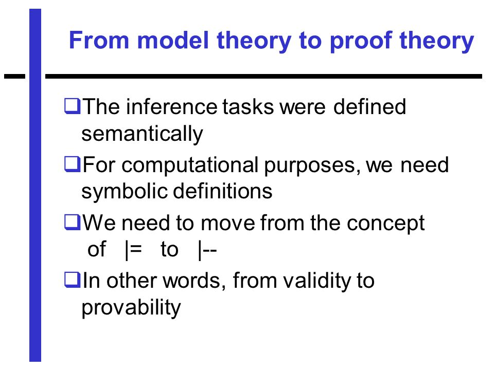 From model theory to proof theory  The inference tasks were defined semantically  For computational purposes, we need symbolic definitions  We need to move from the concept of |= to |--  In other words, from validity to provability