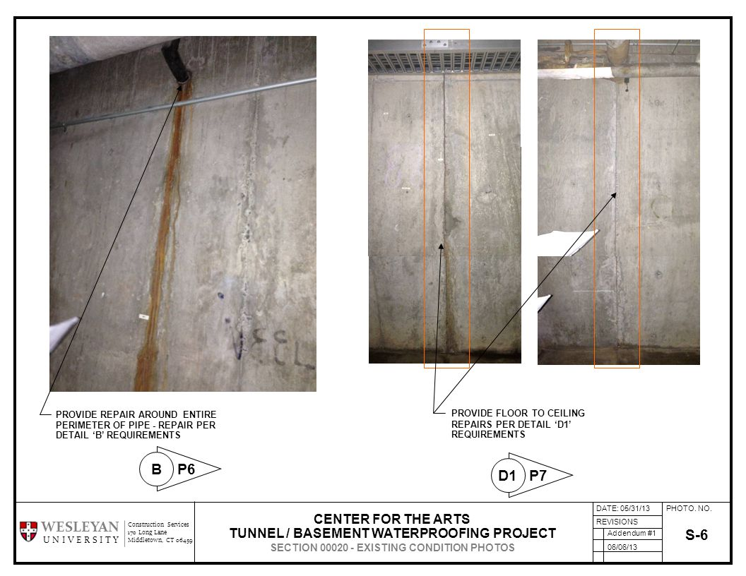 PHOTO. NO. REVISIONS Construction Services 170 Long Lane Middletown, CT 06459 WESLEYAN U N I V E R S I T Y S-6 CENTER FOR THE ARTS TUNNEL / BASEMENT W