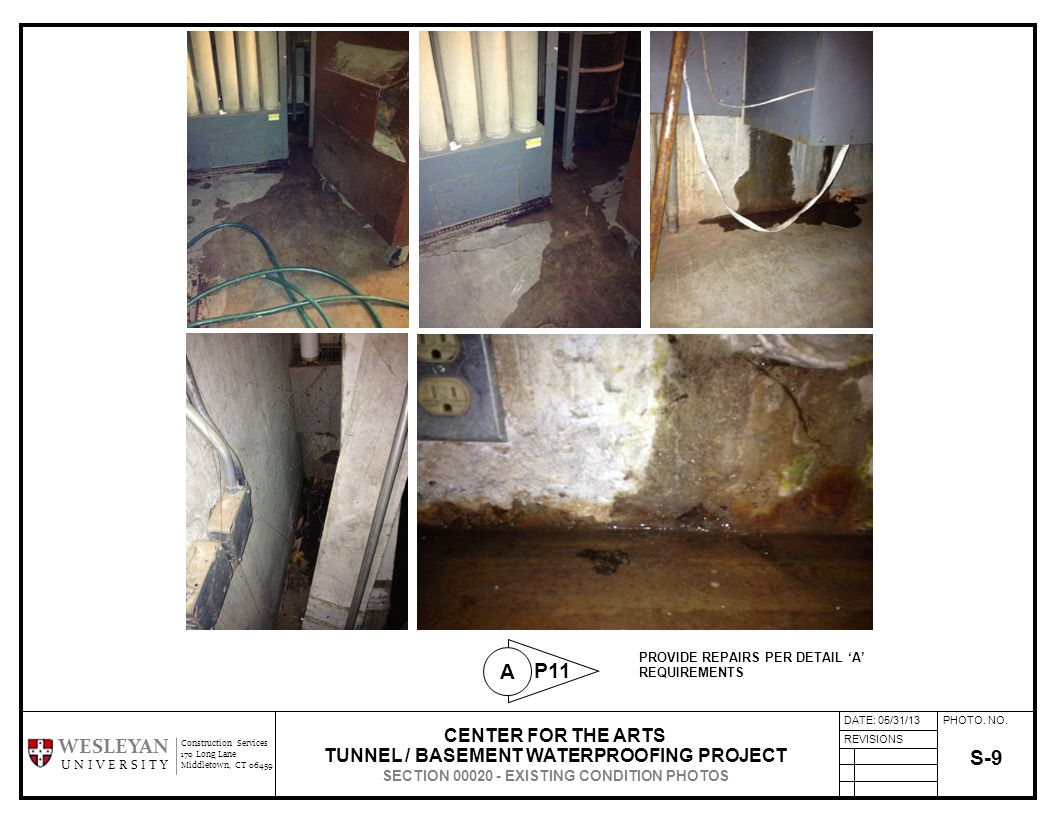 PHOTO. NO. REVISIONS Construction Services 170 Long Lane Middletown, CT 06459 WESLEYAN U N I V E R S I T Y S-9 CENTER FOR THE ARTS TUNNEL / BASEMENT W