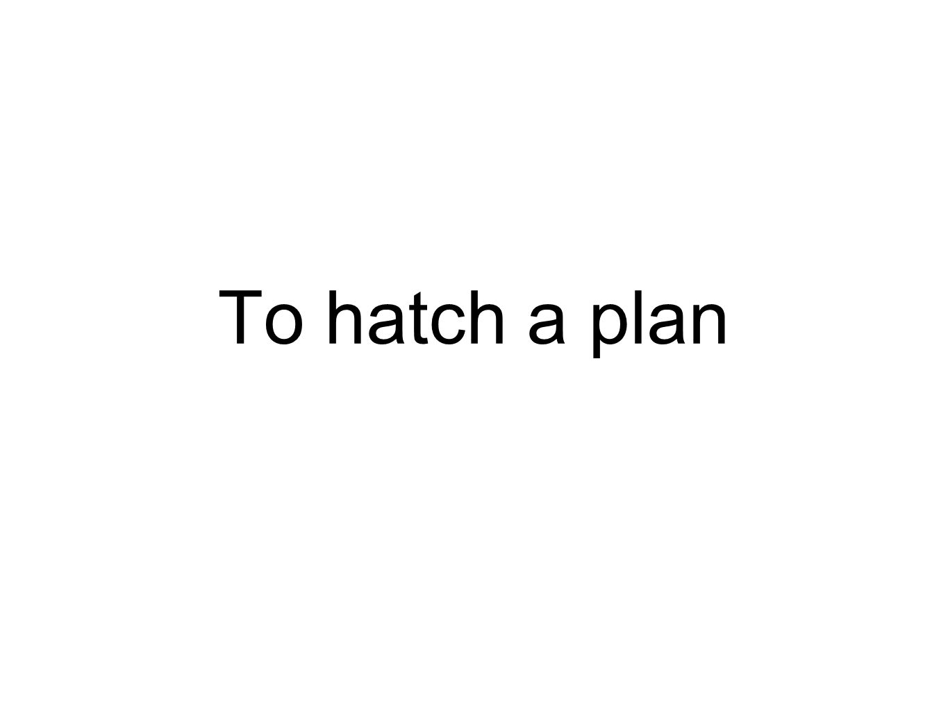 To hatch a plan