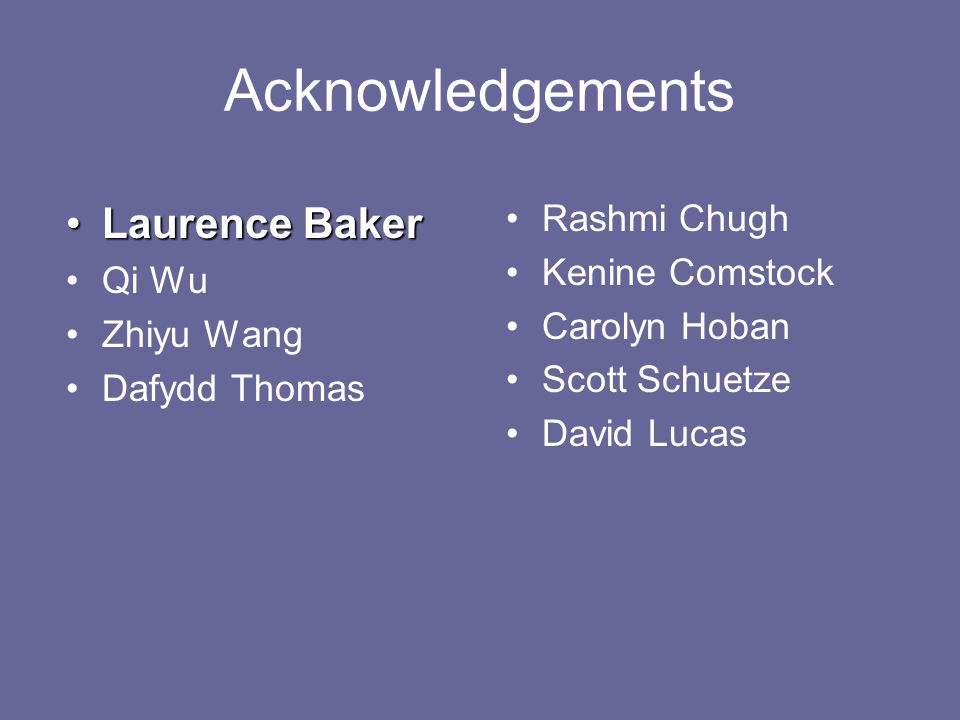 Acknowledgements Laurence BakerLaurence Baker Qi Wu Zhiyu Wang Dafydd Thomas Rashmi Chugh Kenine Comstock Carolyn Hoban Scott Schuetze David Lucas