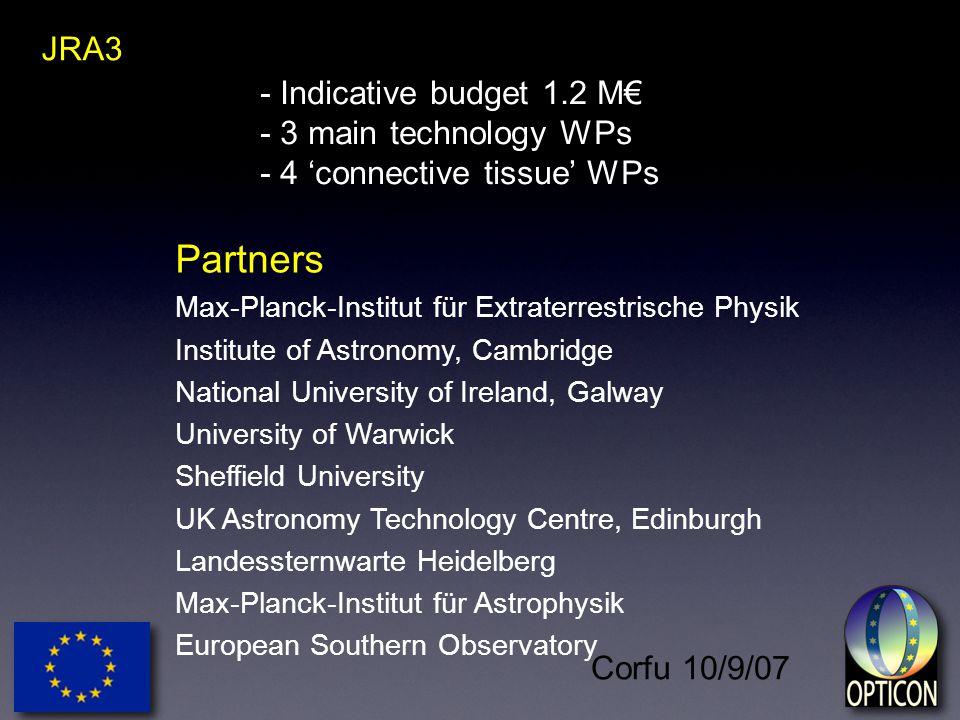 Corfu 10/9/07 - Indicative budget 1.2 M€ - 3 main technology WPs - 4 'connective tissue' WPs JRA3 Partners Max-Planck-Institut für Extraterrestrische