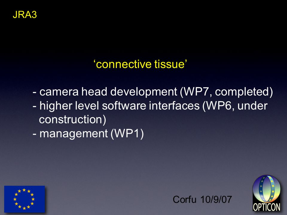 Corfu 10/9/07 JRA3 'connective tissue' - camera head development (WP7, completed) - higher level software interfaces (WP6, under construction) - management (WP1)