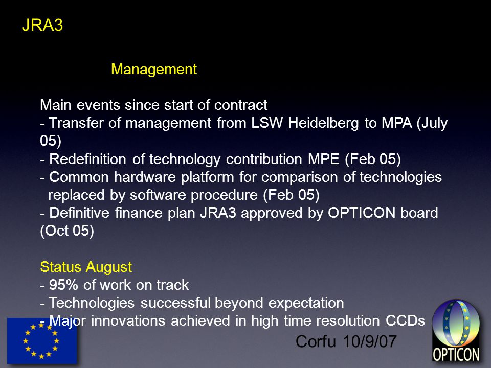Corfu 10/9/07 JRA3 Management Main events since start of contract - Transfer of management from LSW Heidelberg to MPA (July 05) - Redefinition of technology contribution MPE (Feb 05) - Common hardware platform for comparison of technologies replaced by software procedure (Feb 05) - Definitive finance plan JRA3 approved by OPTICON board (Oct 05) Status August - 95% of work on track - Technologies successful beyond expectation - Major innovations achieved in high time resolution CCDs