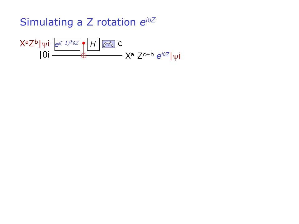 c X a Z c+b e iZ | i XaZb|iXaZb|i Simulating a Z rotation e iZ H |0 i e i(-1) a Z