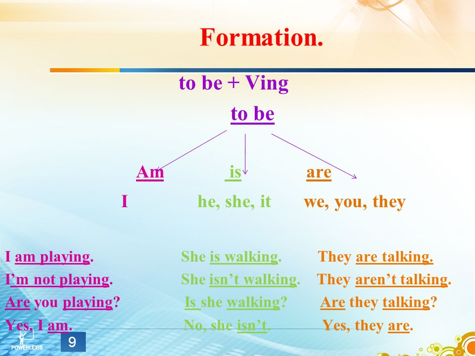 Formation. to be + Ving to be Am is are I he, she, it we, you, they I am playing.