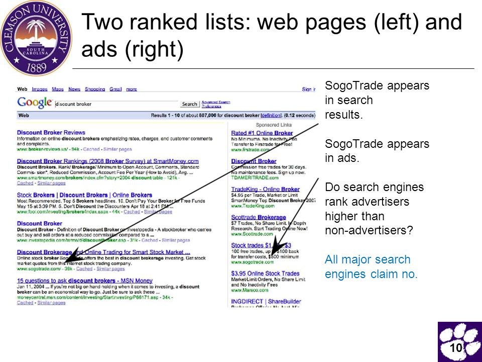 10 Two ranked lists: web pages (left) and ads (right) SogoTrade appears in search results.