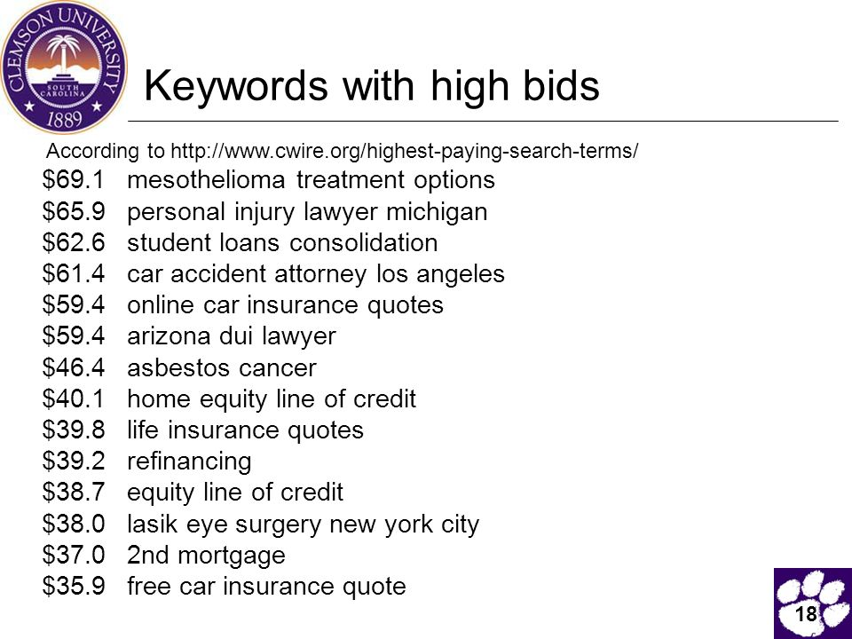 18 Keywords with high bids According to http://www.cwire.org/highest-paying-search-terms/ $69.1 mesothelioma treatment options $65.9 personal injury lawyer michigan $62.6 student loans consolidation $61.4 car accident attorney los angeles $59.4 online car insurance quotes $59.4 arizona dui lawyer $46.4 asbestos cancer $40.1 home equity line of credit $39.8 life insurance quotes $39.2 refinancing $38.7 equity line of credit $38.0 lasik eye surgery new york city $37.0 2nd mortgage $35.9 free car insurance quote