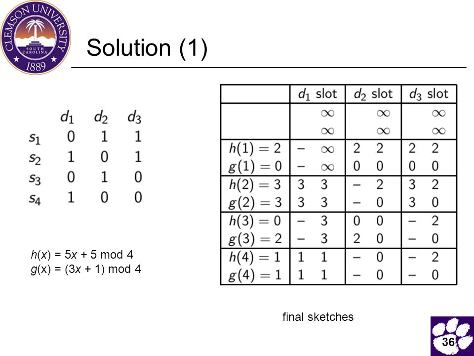 36 Solution (1) final sketches h(x) = 5x + 5 mod 4 g(x) = (3x + 1) mod 4