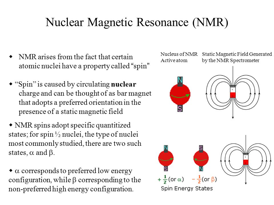 NMR arises from the fact that certain atomic nuclei have a property called spin  Spin is caused by circulating nuclear charge and can be thought of as bar magnet that adopts a preferred orientation in the presence of a static magnetic field Static Magnetic Field Generated by the NMR Spectrometer Nucleus of NMR Active atom  NMR spins adopt specific quantitized states; for spin ½ nuclei, the type of nuclei most commonly studied, there are two such states,  and .