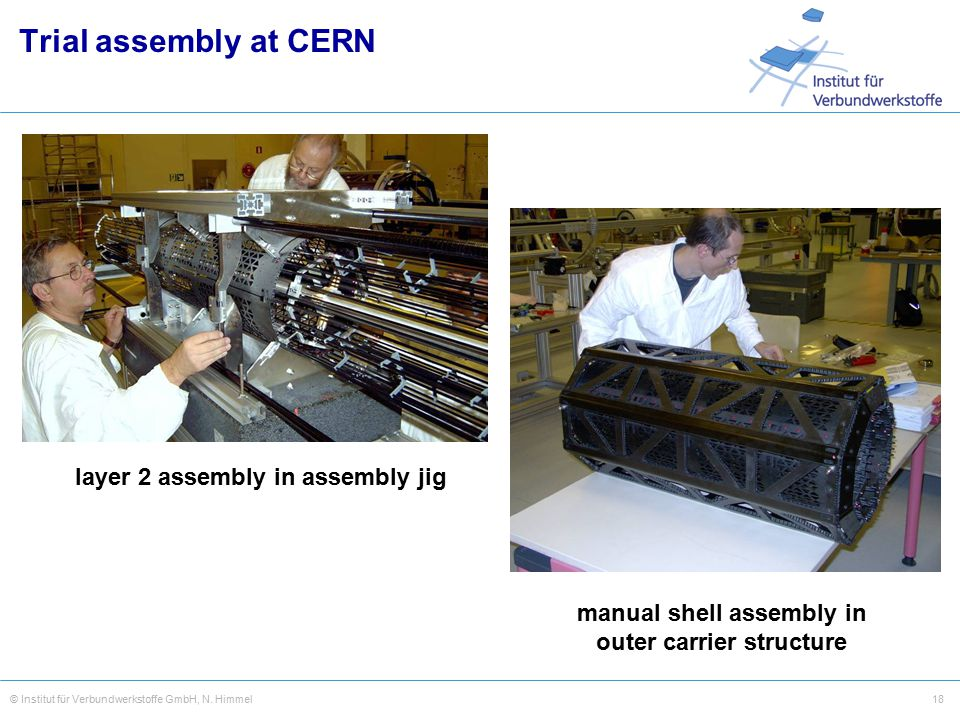 18© Institut für Verbundwerkstoffe GmbH, N. Himmel manual shell assembly in outer carrier structure layer 2 assembly in assembly jig Trial assembly at