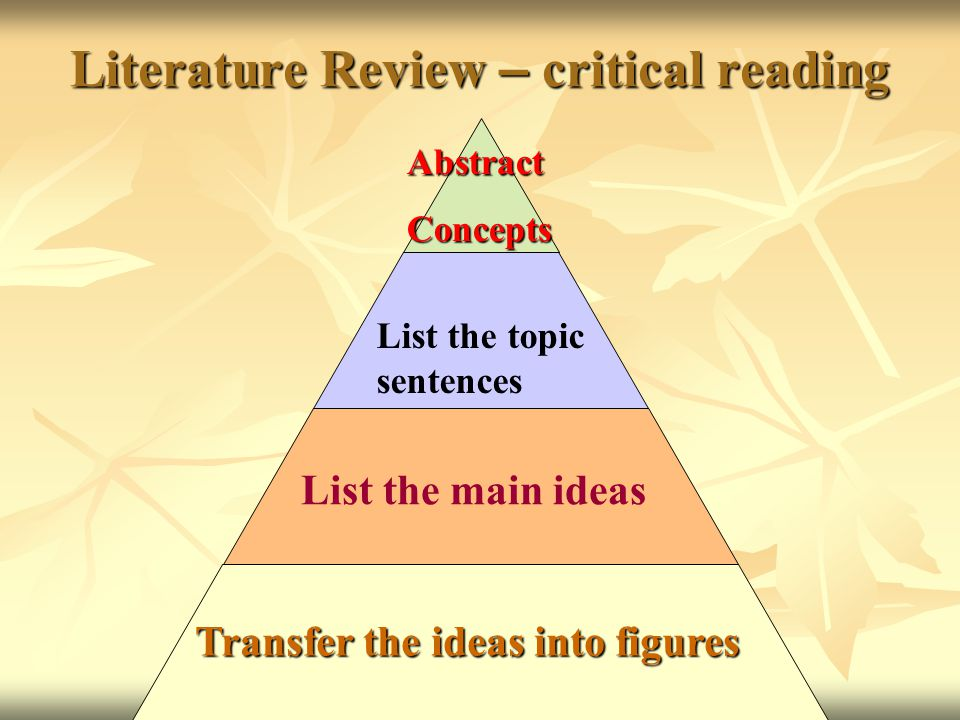 Literature Review – critical reading AbstractConcepts List the topic sentences List the main ideas Transfer the ideas into figures
