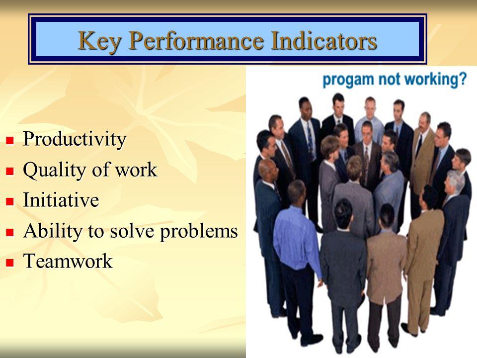 Key Performance Indicators Productivity Productivity Quality of work Quality of work Initiative Initiative Ability to solve problems Ability to solve