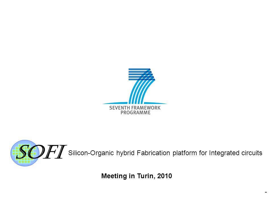 Silicon-Organic hybrid Fabrication platform for Integrated circuits 2 Particpants UKA: Juerg Leuthold, Luca Alloatti SELEX: Alberto Secchi (design) Massiliano Dispenza (not here, head) Luigi (not here) IMEC: Pieter Dumon, (instead of Wim Bogarts) Hui Yu RB: Peter Günter GO: Giulio Cangini, Jörg Wieland, perhaps Raluca Dinu AIT: Ioannis Tomkos Arvind Mishra (not attend) CUDOS: Ben Eggleton