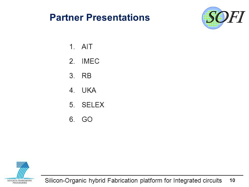 Silicon-Organic hybrid Fabrication platform for Integrated circuits 10 Partner Presentations 1.AIT 2.IMEC 3.RB 4.UKA 5.SELEX 6.GO