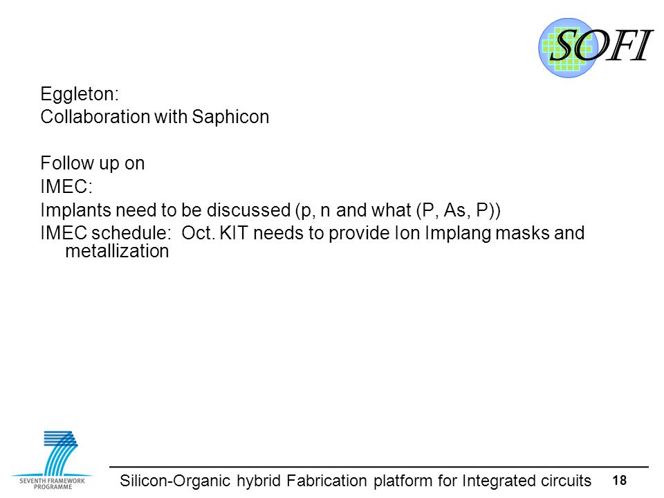 Silicon-Organic hybrid Fabrication platform for Integrated circuits 18 Eggleton: Collaboration with Saphicon Follow up on IMEC: Implants need to be discussed (p, n and what (P, As, P)) IMEC schedule: Oct.