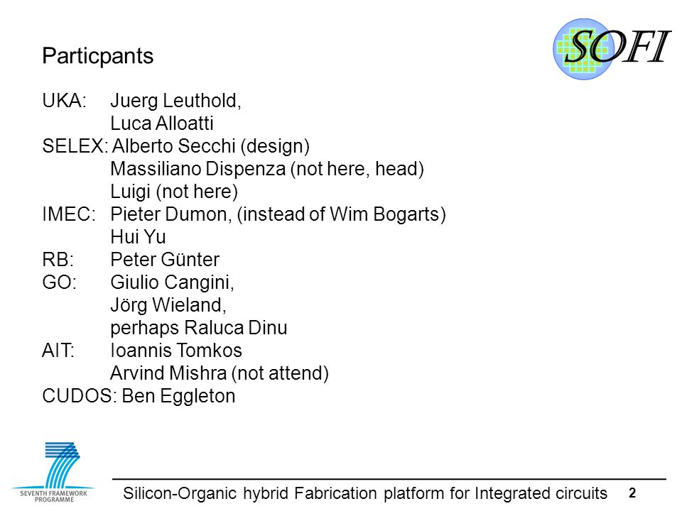 Silicon-Organic hybrid Fabrication platform for Integrated circuits 3 AGENDA 9am - 4pm 1.Administrative remarks 2.Partner presentations (activities, publications, expenses) 1.UKA (KIT) 2.Australia-Partner 3.GO 4.IMEC 5.SELEX 6.RB 7.AIT 3.Deadlines 4.Open Issues.