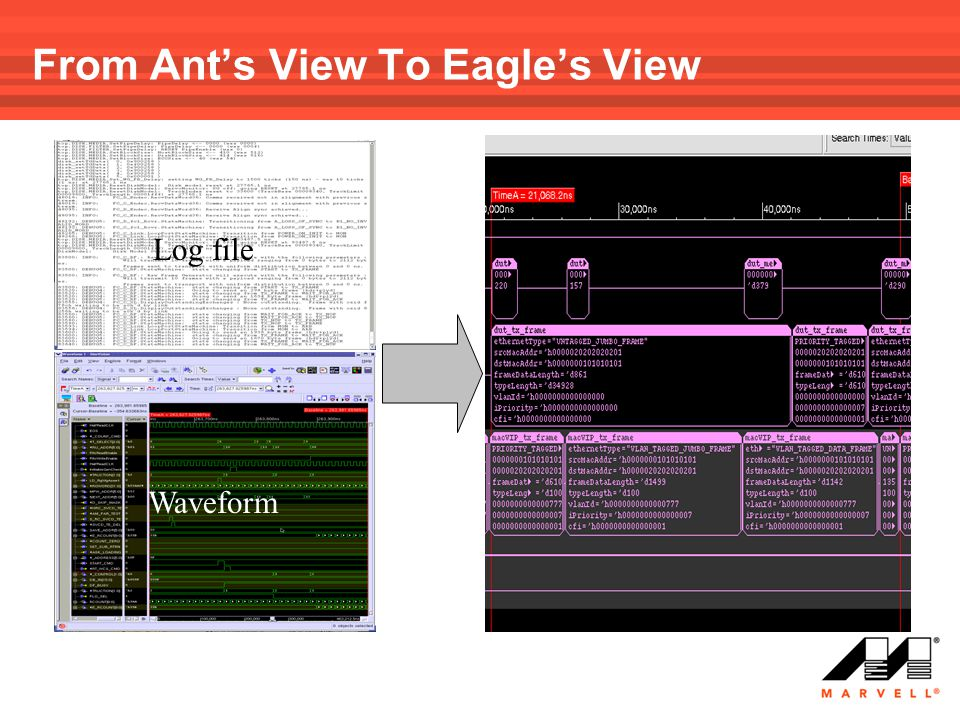 From Ant's View To Eagle's View Log file Waveform Graphic presentation